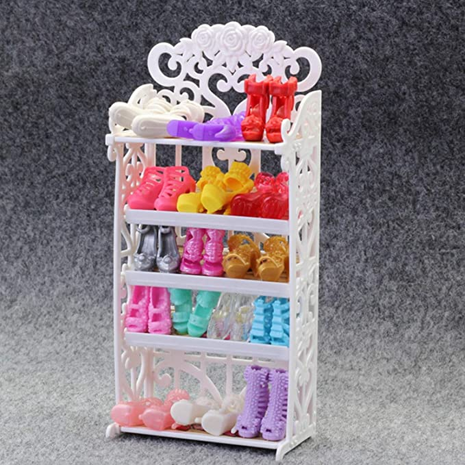 Amazon.com: Mini zapatero de muñeca para niños, color blanco ...