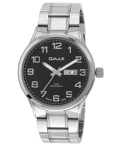Omax Hombres de acero inoxidable Semi Formal reloj con día y fecha, color negro - SS498: Amazon.es: Relojes