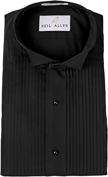 17 X 38-39 Neil Allyn Mens Tuxedo Shirt Poly//Cotton Laydown Collar 1//4 Inch Pleat