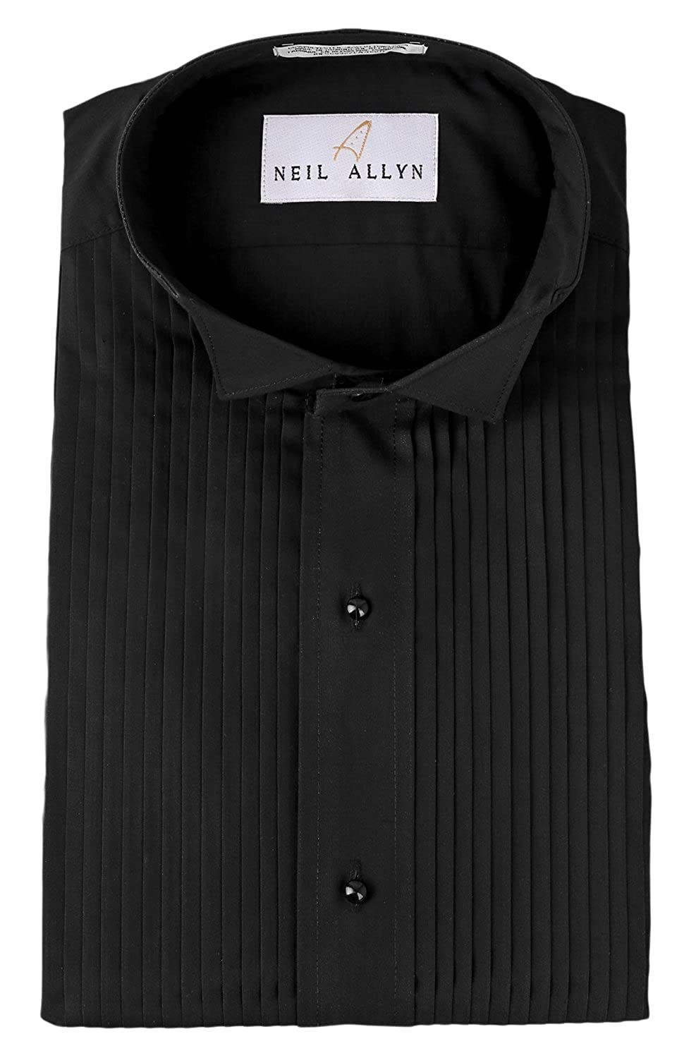 Neil Allyn Men's Black Wing Collar 1/4 Pleats Tuxedo Shirt