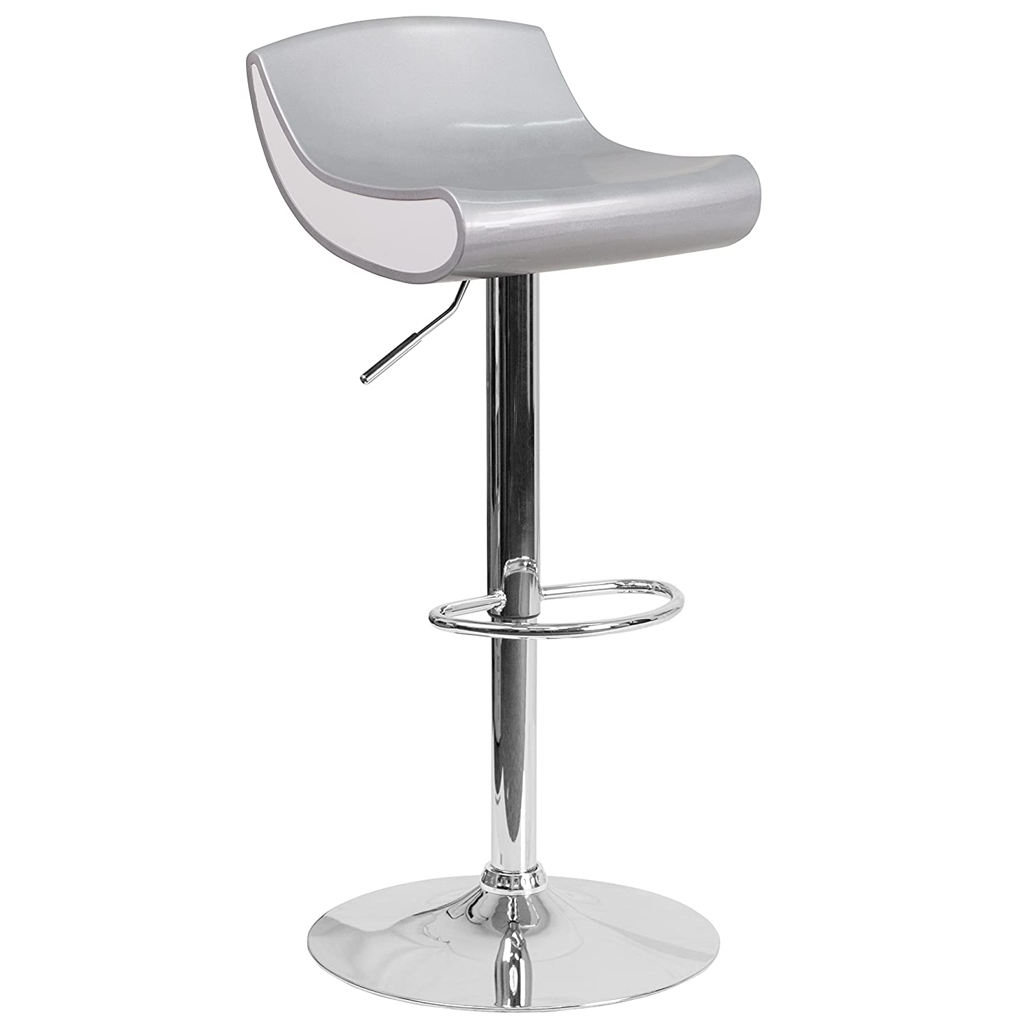 Flash Furniture Contemporary Yellow and White Adjustable Height Plastic Barstool with Chrome Base