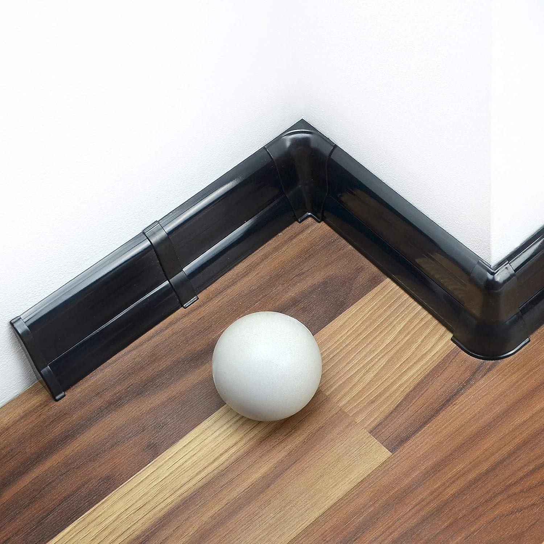 DQ-PP Au/ßenecke 62mm PVC Schwarz gl/änzend Laminatleisten Fussleisten aus Kunststoff PVC Laminat Dekore Fu/ßleisten