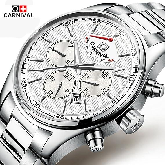 mastop Swiss Marca Relojes para hombre reloj mecánico automático resistente al agua relojes luminoso Plata: Amazon.es: Relojes