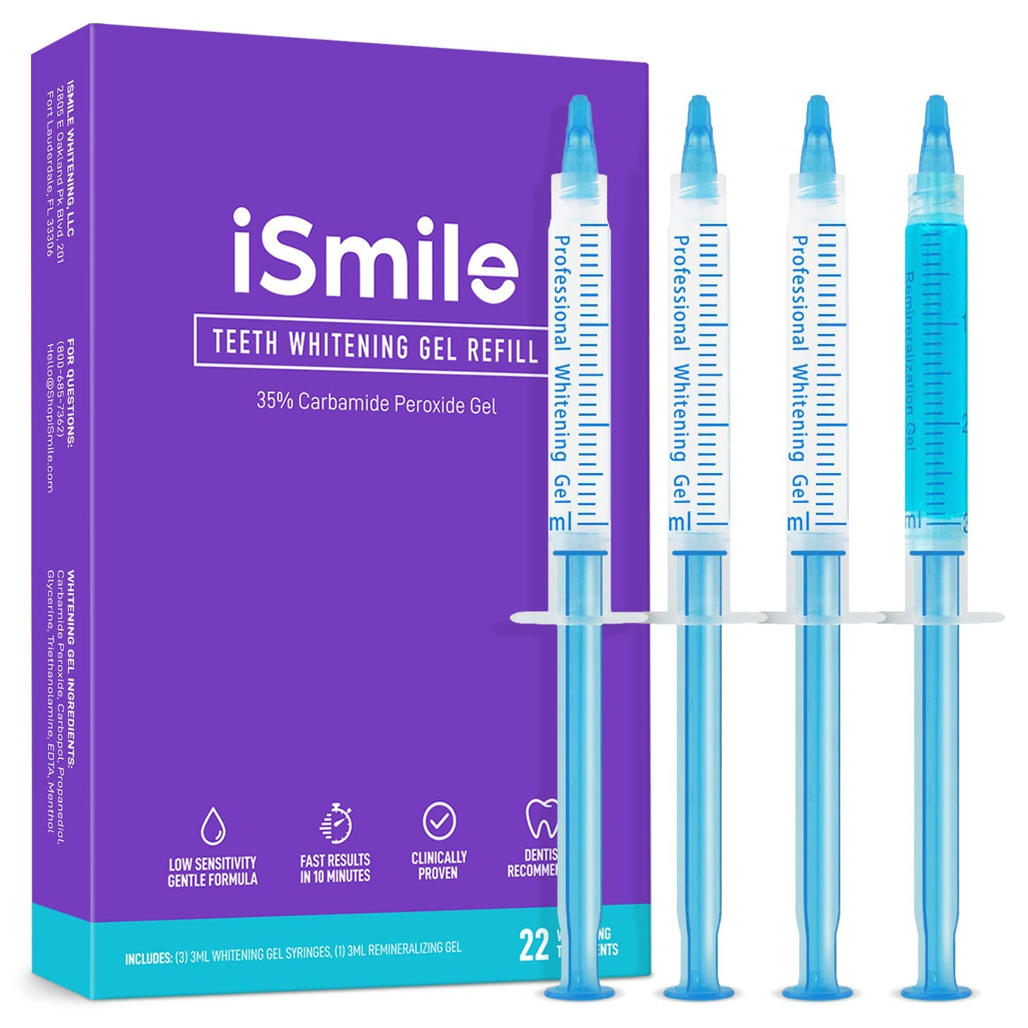 iSmile Teeth Whitening Gel Syringe Refill Pack - (3) 3ml Whitening Gel Syringes, (1) Remineralization Gel Syringe, No Sensitivity, Premium Quality, Use with LED Light and Trays