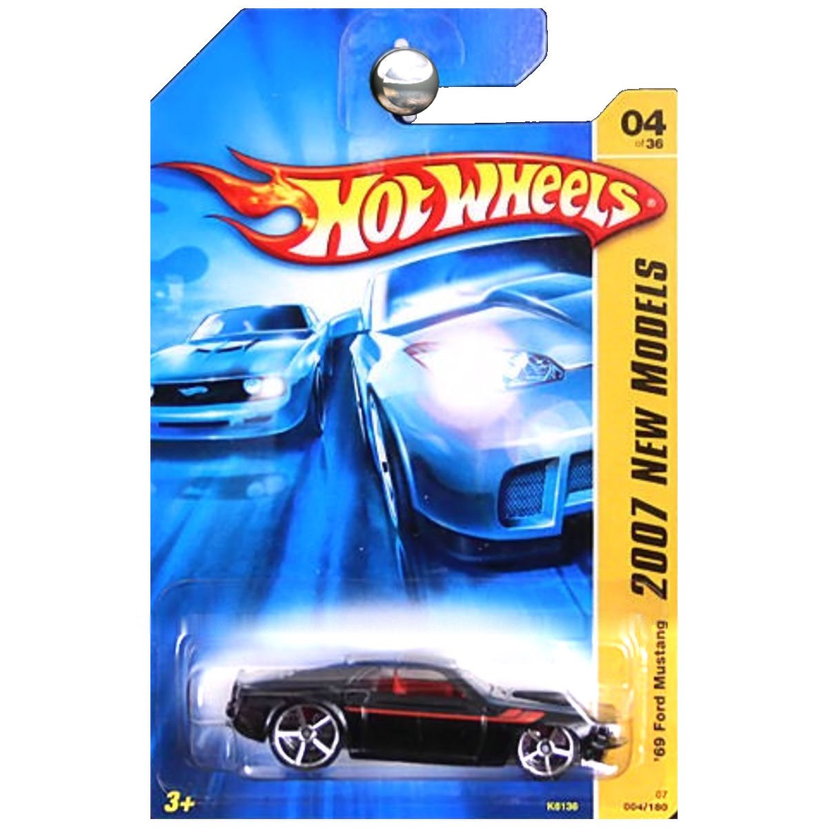 Amazon com hot wheels 2007 new models 4 1969 ford mustang black pr 5 wheels 164 scale collectible die cast car toys games