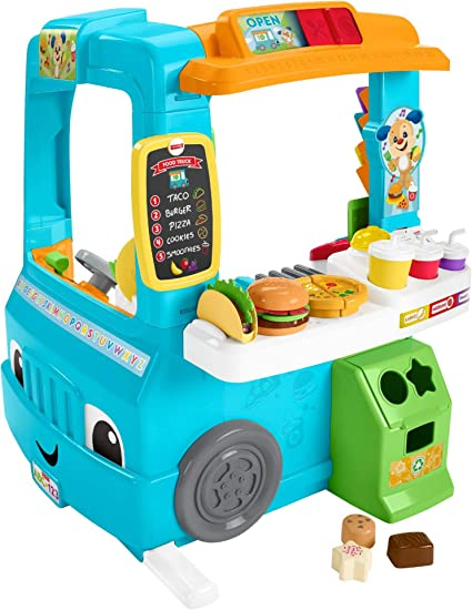 Amazon Com Fisher Price Laugh Learn Servin Up Fun Food Truck Toys Games