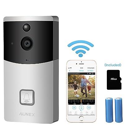 10ce673037e Video Doorbell Wireless Smart 720P HD Security Camera Doorbell with 16G  Card 2 Batteries Support 2-Way Talk ...