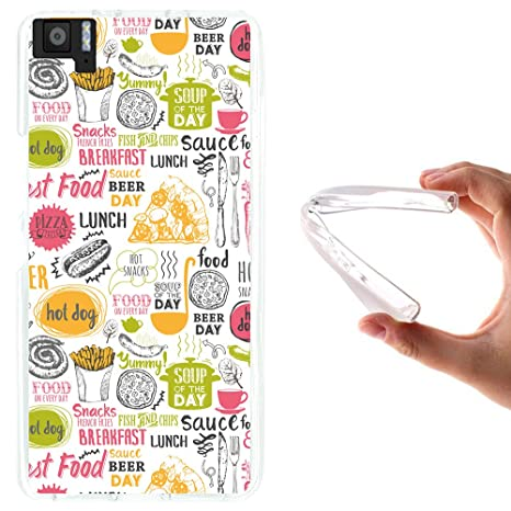 WoowCase Funda Bq Aquaris M5, [Bq Aquaris M5 ] Funda Silicona Gel Flexible Comida Fast Food, Carcasa Case TPU Silicona - Transparente