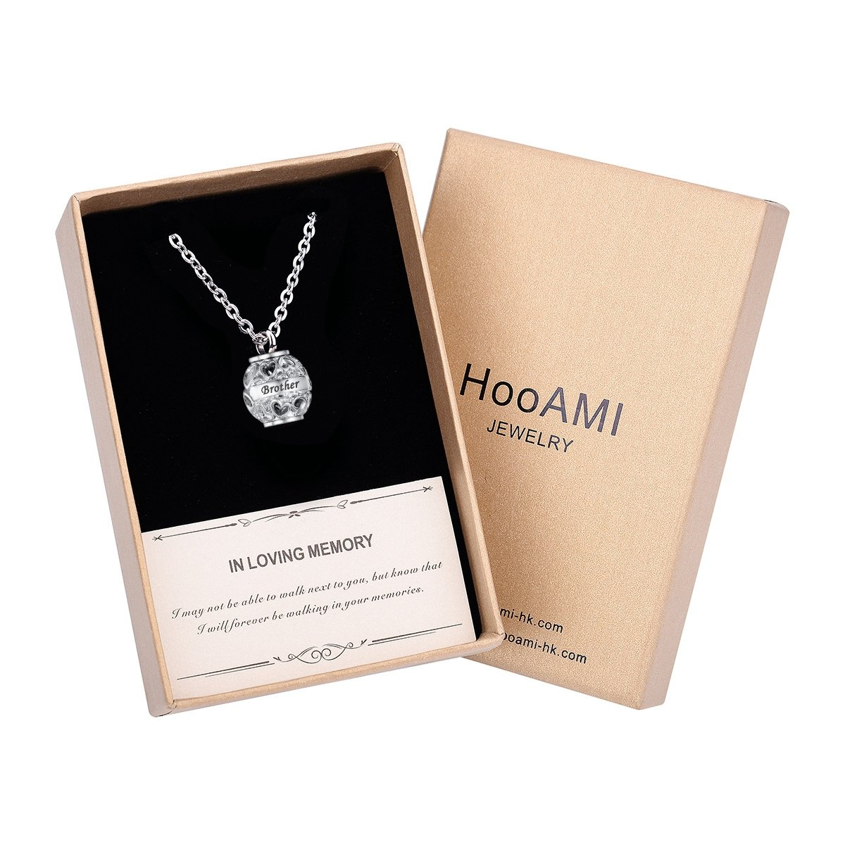 HooAMI Always in my heart Heart Beads Family Memorial Ashes Pendant Jewellery Cremation Urn Necklace Terrific-Young BETY125817-CA