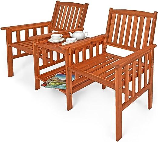 et support de jardin extérieur 2 bois d'acacia Banc fauteuil jardin avec balcon accoudoirs places table JFcT3lK1
