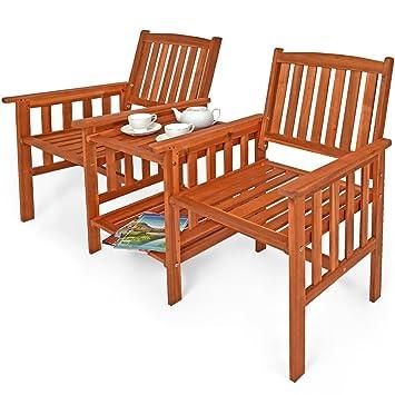 Banc De Jardin 2 Places Bois Dacacia Extérieur Avec Table Support