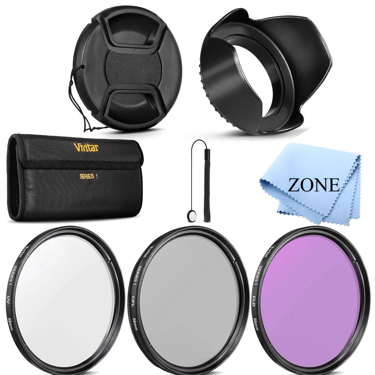 58mm Professional Lens Filter Accessory Kit Filter Kit (UV, CPL, FLD) + Carry Pouch + Tulip Lens Hood + Snap-On Lens Cap w/Cap Keeper Leash + Microfiber Lens Cleaning Cloth by Accessory Zone