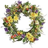 Wild Daisy Floral Twig Wreath, Iron, Polyester, Vine