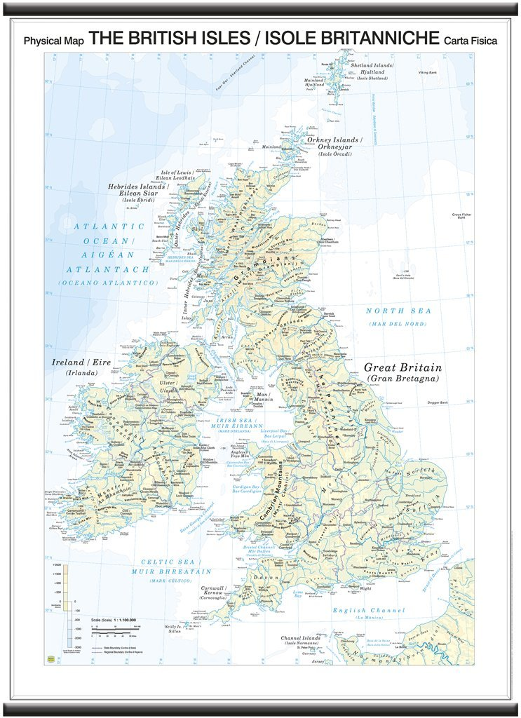 Cartina Muta Isole Britanniche.Belletti Isole Britaniche British Isles Carta Murale Scolastica Bifacciale Fisica Politica 97x134 Cm