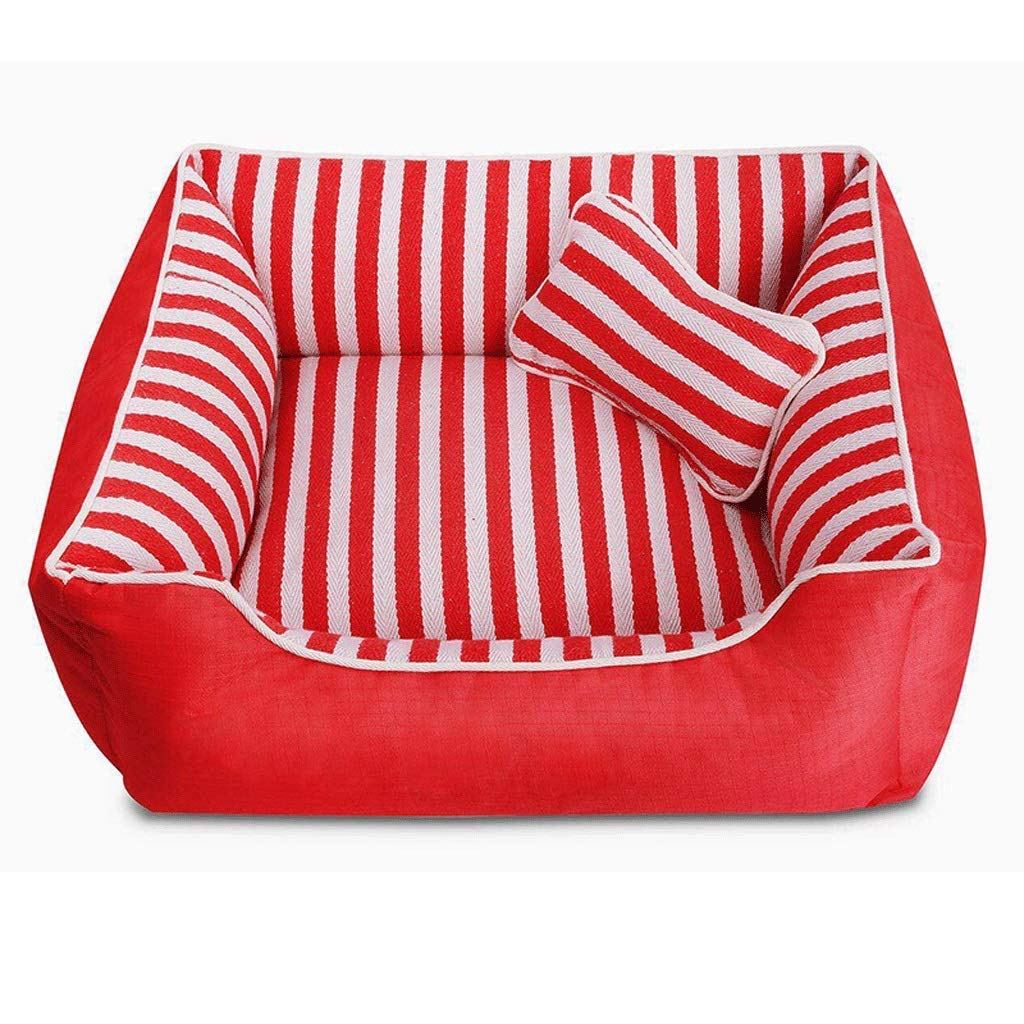 MMAWN Red Orthopedic Dog Bed - with Grooved Orthopedic Foam, Comfy Cotton-Padded Rim Cushion and Nonslip Bottom (Size : L)