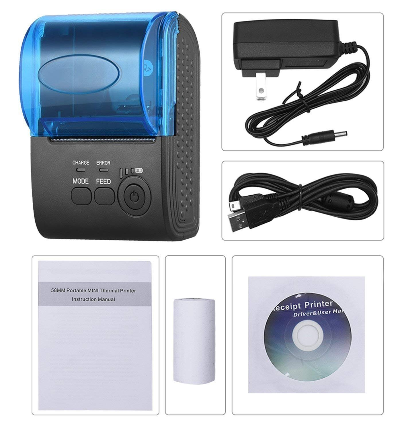 Cysno 58mm Bluetooth Thermal Printer Mini Supported for Both