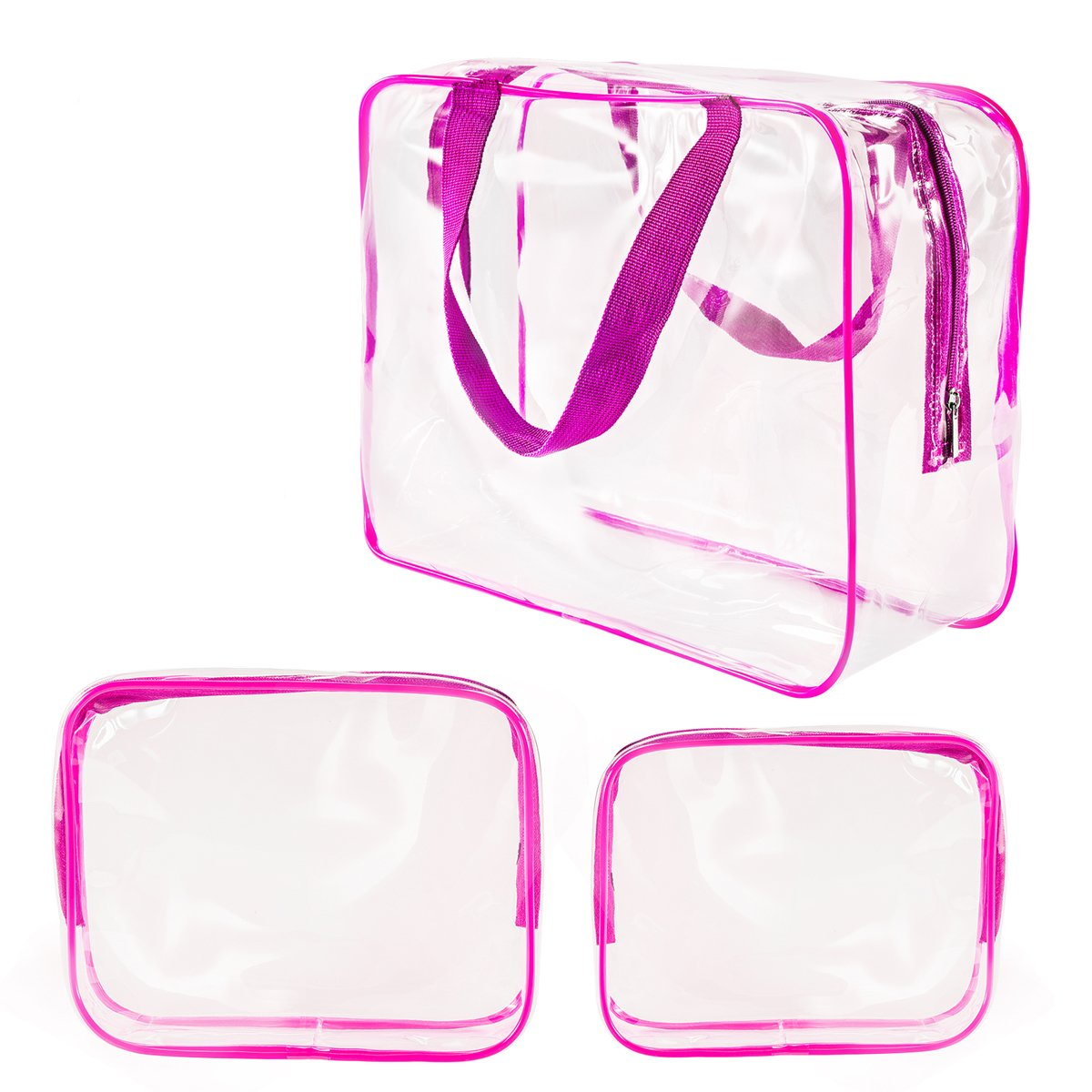 f36732411c Amazon.com   3Pcs Crystal Clear Plastic Cosmetic Bags Travel PVC ...