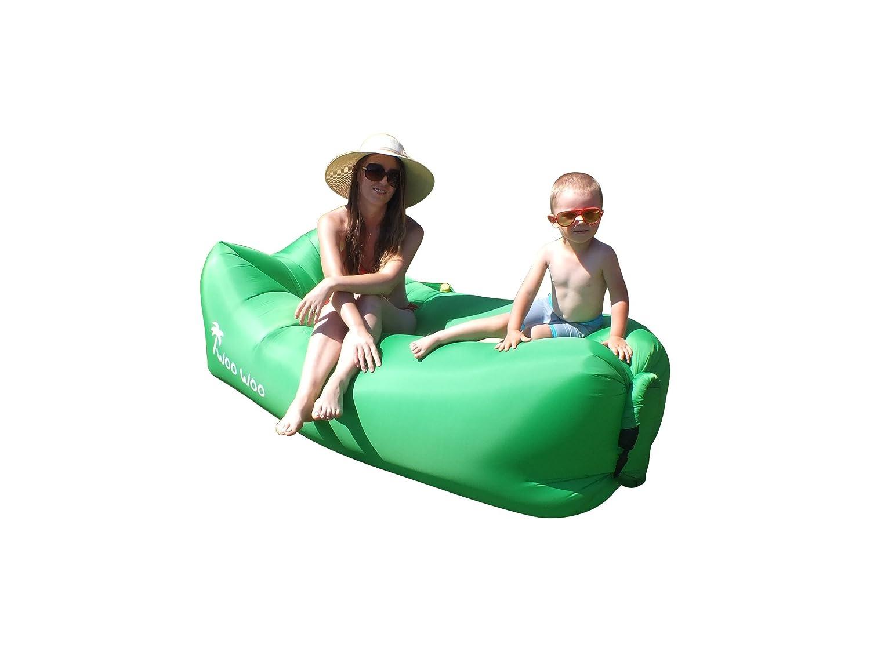 Wooインフレータブルlounger- outdoors-防水用のエアソファーベッドエアマットレスソファbed- with Attachedサイドポケット快適、簡単にuse-軽量エアソファ室内と室外の B07358C7H3  グリーン
