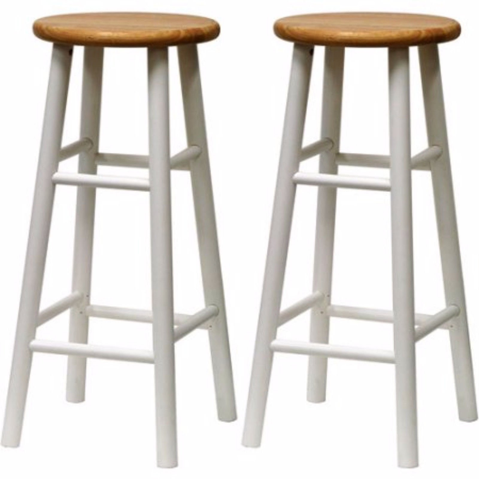 Wooden Bar Stools Beveled Seat 30 Inch Beech Wood Bar Stools Set of 2 White Bar Pub Bistro Restaurant