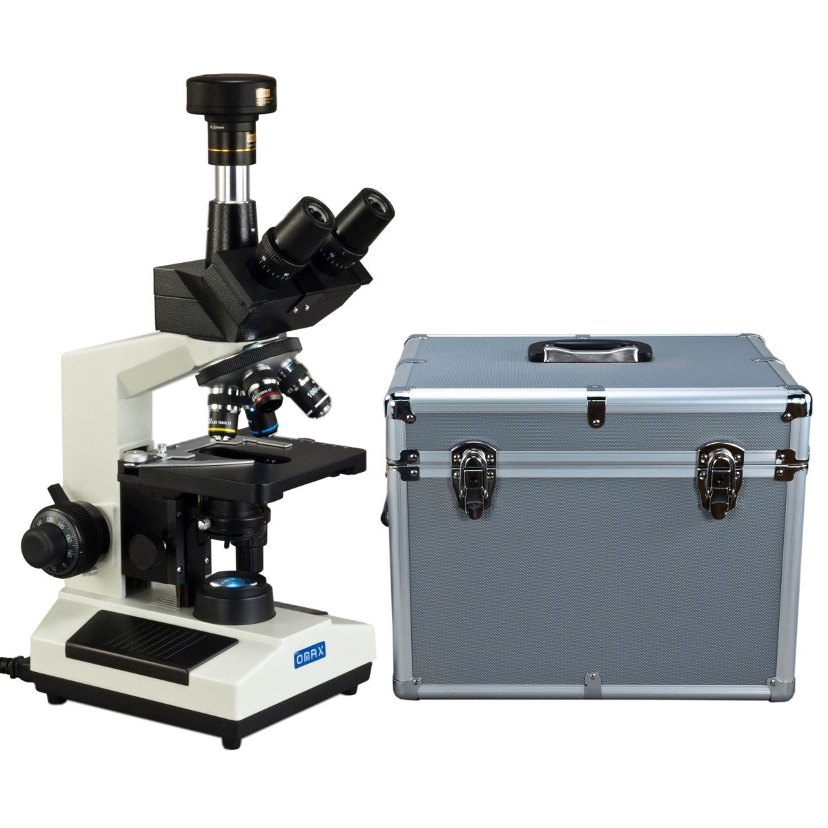 OMAX 40X-1600X Trinocular Compound LED Microscope w 9MP Digital Camera & Aluminum Carrying Case by OMAX