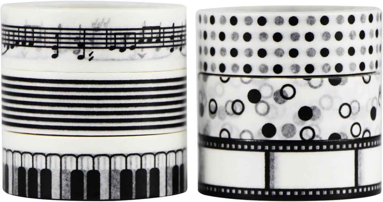UOOOM 6 Piezas Washi Cintas Washi tapes Decorativas de Colores Washi Cinta de Enmascarar para DIY Design 9027