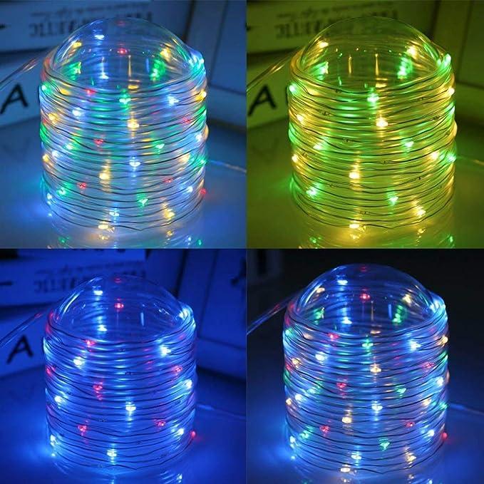 JIA Luces de cadena al aire libre 10M 100LEDs Batería de LED Tubo ...