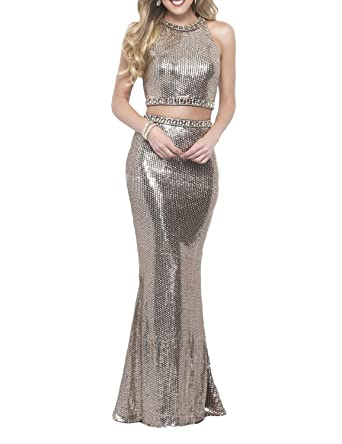 DarlingU Womens Two Pieces Sequins Prom Dresses Mermaid Formal Evening Gown Silver 2