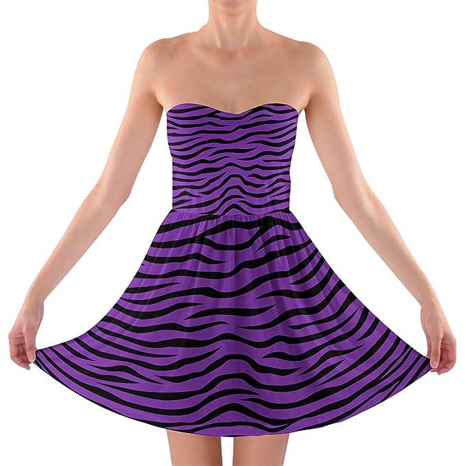 Zebra Print Bright morado sin tirantes sujetador Top vestido: Amazon.es: Ropa y accesorios