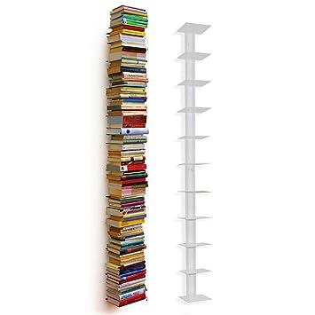 Bücherregal weiß schmal  Haseform Bücherturm 170 cm (für 1,80 m Bücher) weiss Bücherregal ...
