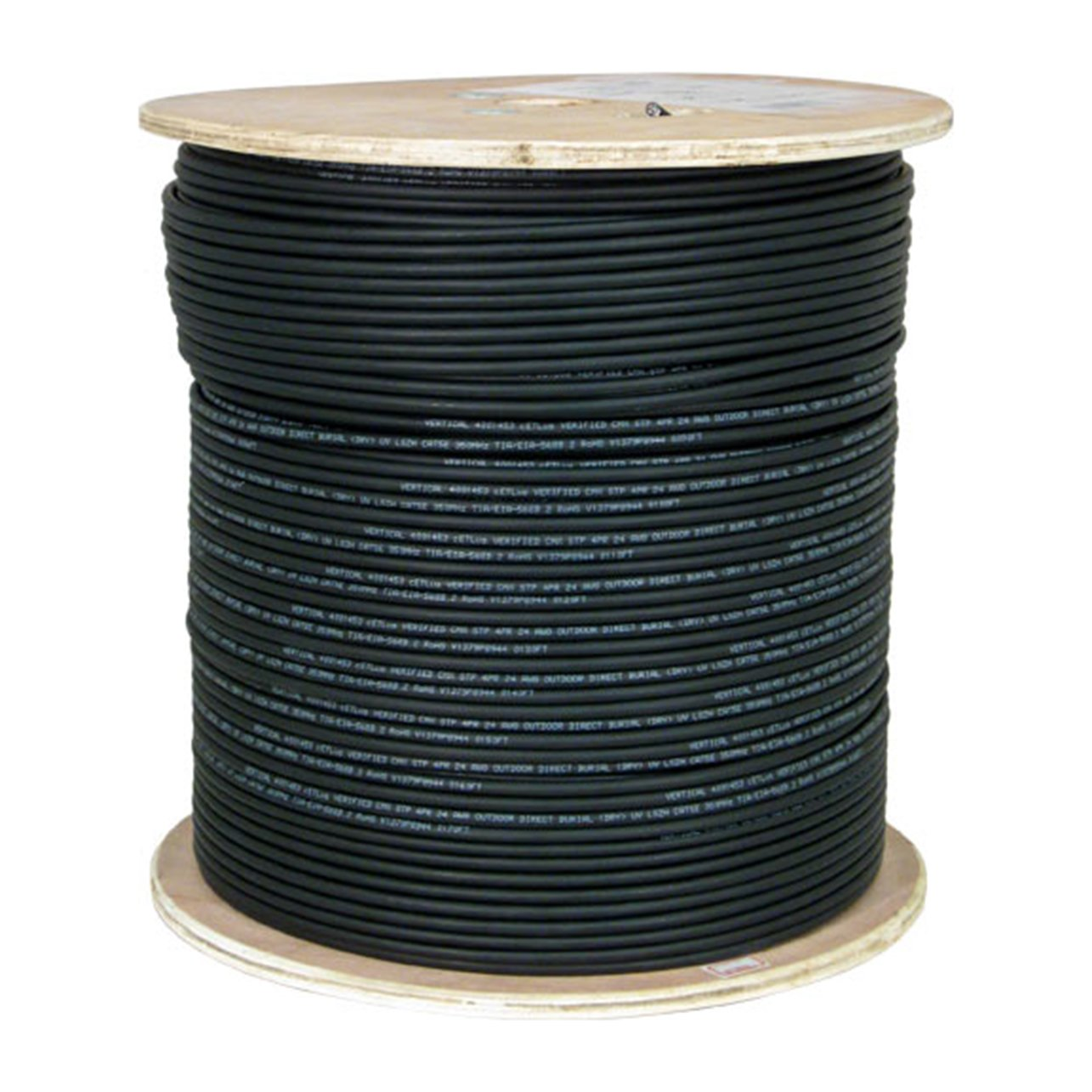 Vertical Cable CAT5E, Shielded Waterproof Tape, Direct Burial, 2000ft, Black, Bulk Ethernet Cable, Wooden Spool
