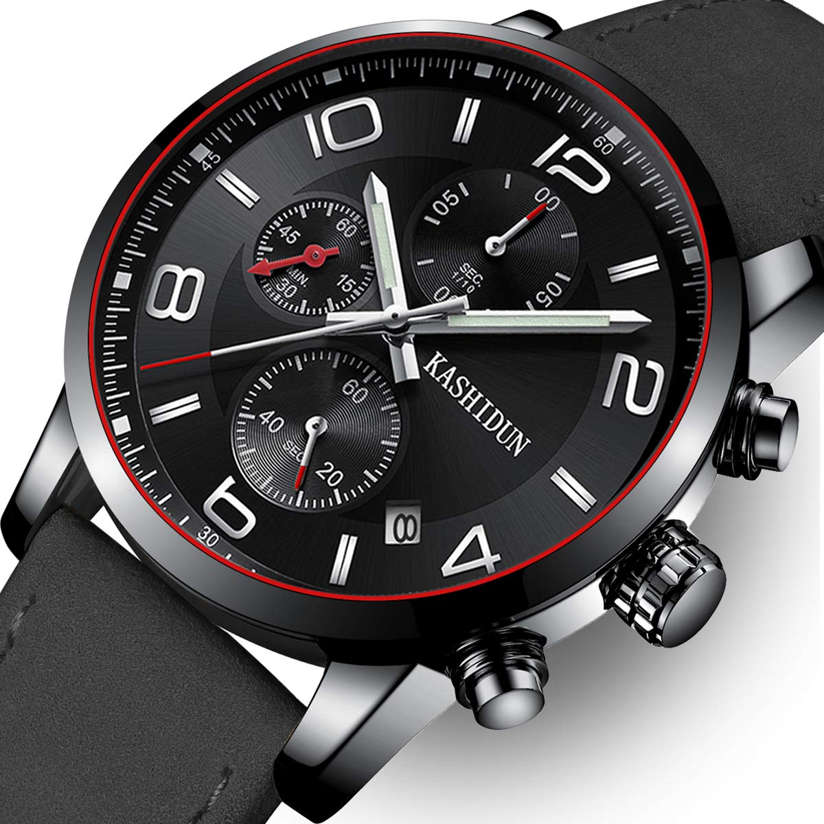 Men Leather Strap Watches Men's Chronograph Waterproof Sport Date Quartz Wrist Watch (Black A) by KASHIDUN