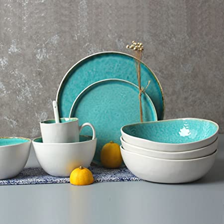 Queen-KS - Vajilla de cerámica esmaltada para microondas (20 ...