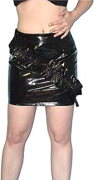 Falda de charol con volante brilla mojado, Talla S: Amazon.es ...