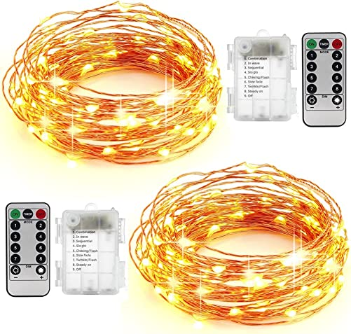AYG 50 LED String Lights 16.4ft With Remote Control Dimmable Bright Lights With Over Current Protection For Indoors,Outdoors,Weddings,Home D cor,Garden,Patio,Bedroom More2-Pack Warm White 5M