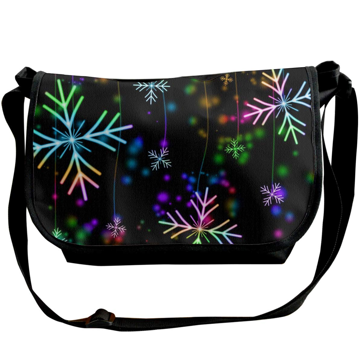 Taslilye Snowflake Snow Winter Christmas Holiday Colored Colorful Personalized Wide Crossbody Shoulder Bag For Men And Women For Daily Work Or Travel