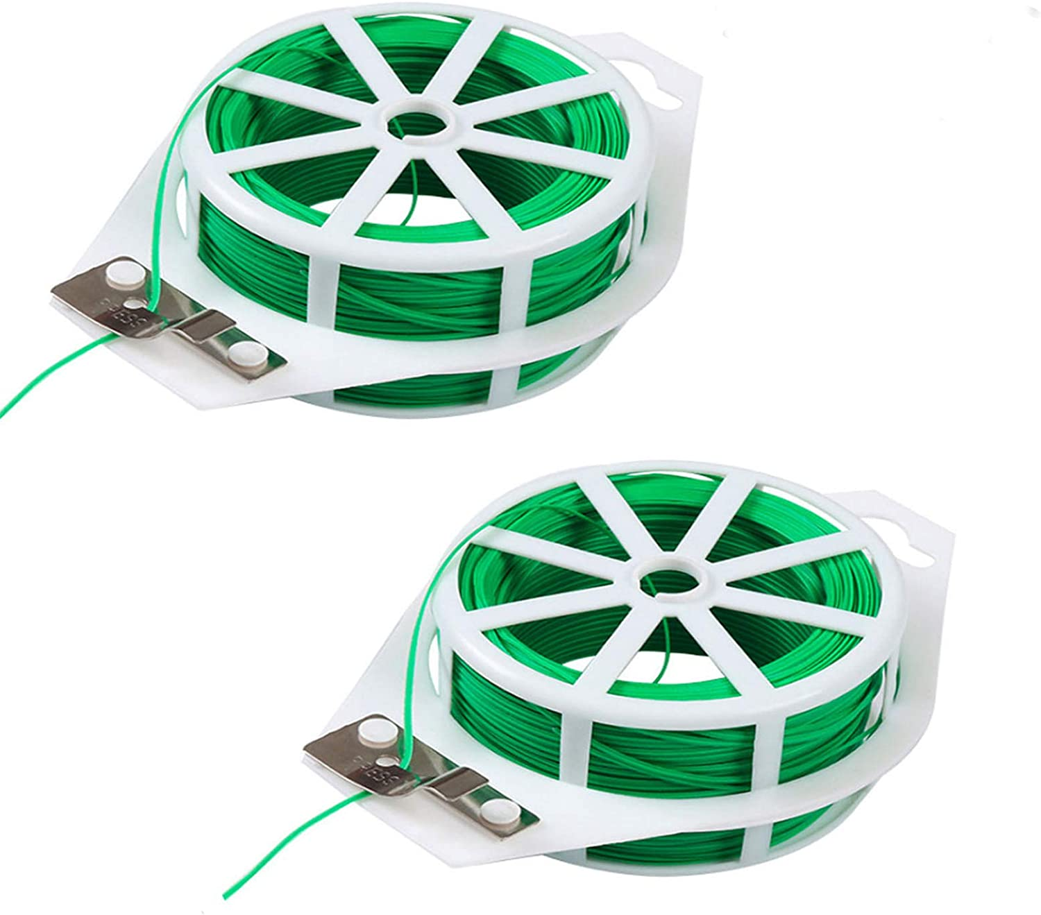 PUNCH 2-Pack 328ft (100m) Garden Tie Cord, Green Garden Twist Tie Support Wire with Cutter for Gardening and Office Organization, Home