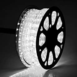 DELight 150 FT Cool White 2 Wire LED Rope Light Outdoor Home Holiday Valentines Party Restaurant