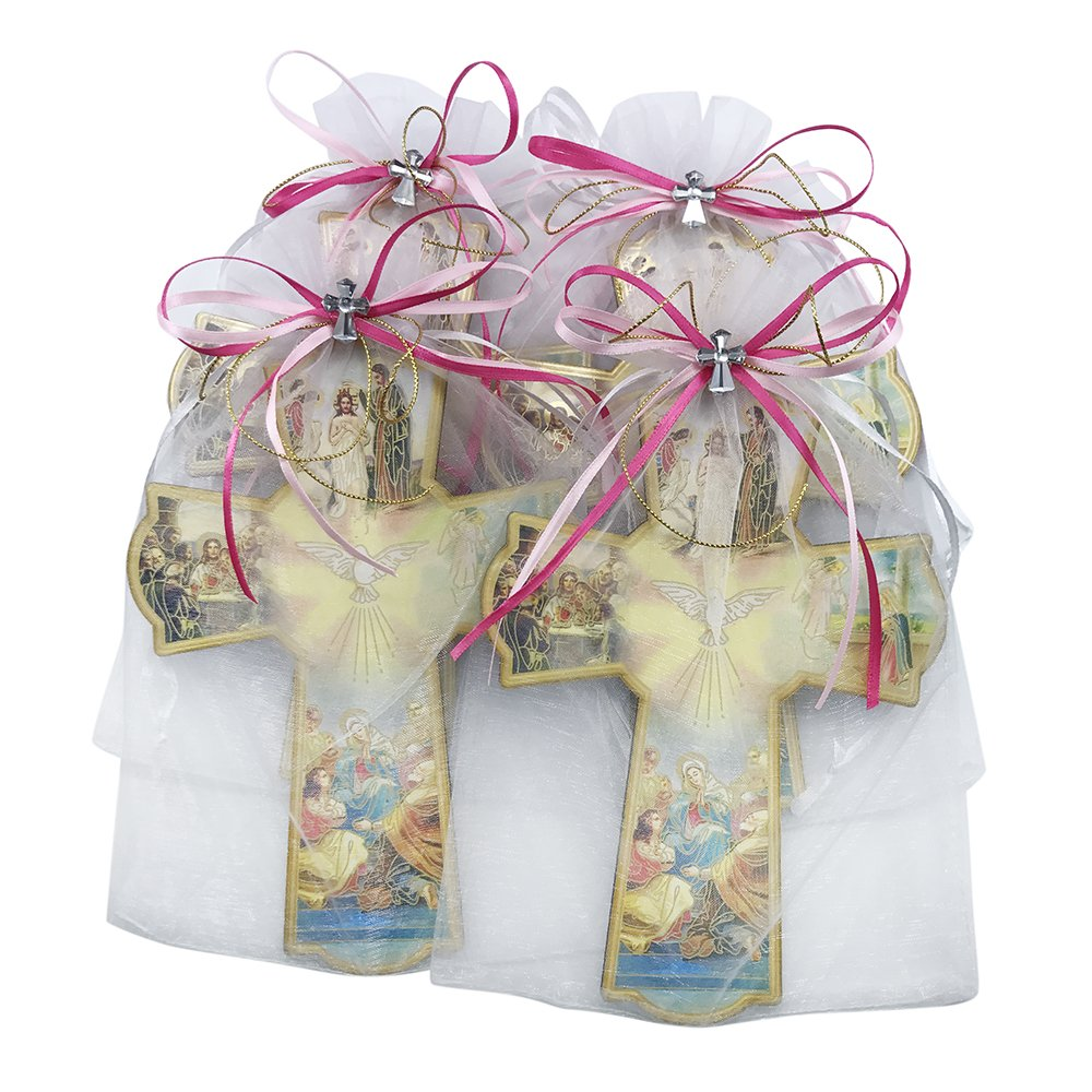 Baptism Wall Cross Favor in Decorated Organza bag for Girl 12pcs