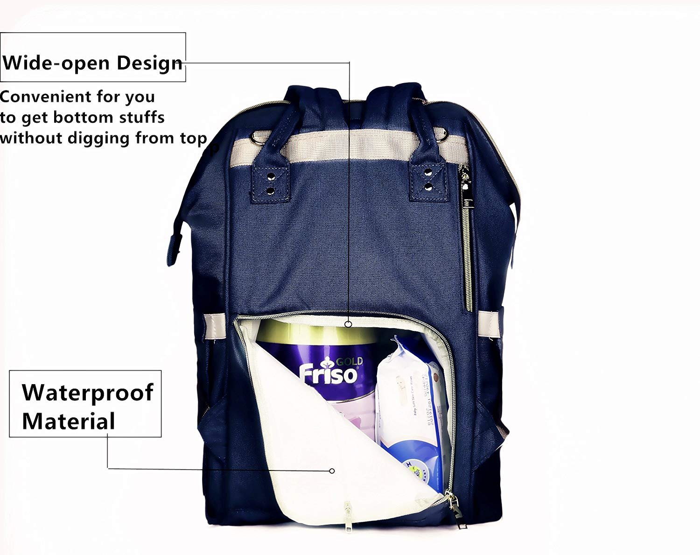 borsa fasciatoio zaino borsa mamma neonato multifunzione impermeabile zaino da viaggio borsa per pannolini per il beb/è elegante e durevole grande capacit/à Blu Scuro