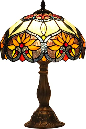 Mural Times Lighting Tiffany Table Lamp W12H18 Inch Classical Baroque Stained Glass Desk Light