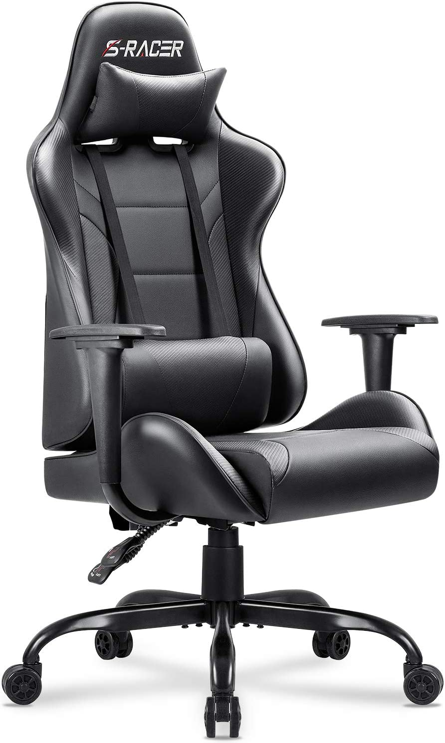 Homall Gaming Office Chair Computer Chair High Back Racing Desk Chair PU Leather Adjustable Seat Height Swivel Chair Ergonomic Executive Chair with Headrest for Adults Black