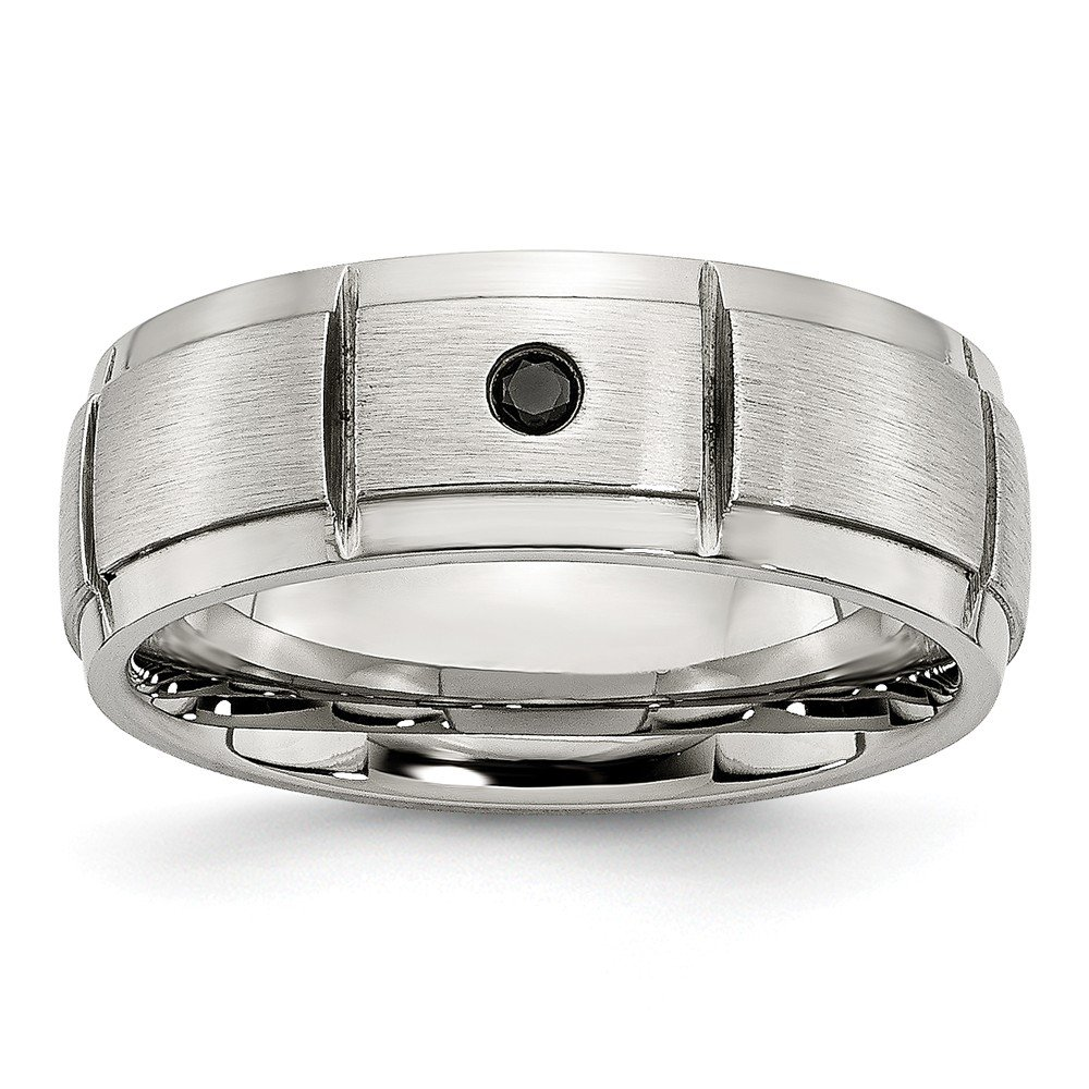 Saris and Things Stainless Steel Polished Brushed 0.05pt. Diamond 8mm Band Ring 12 Size