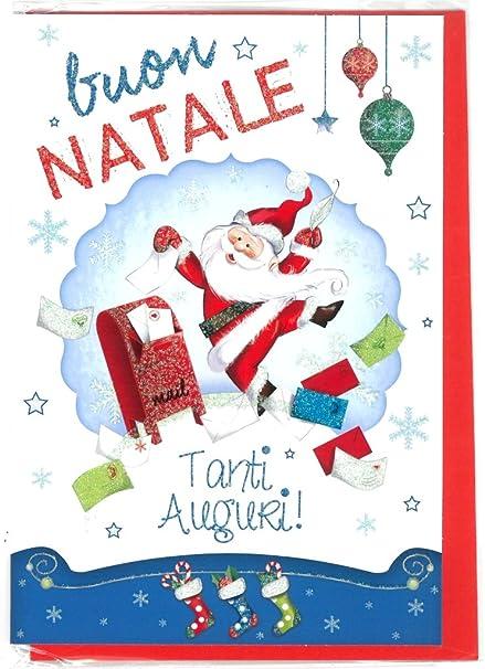 Biglietti Buon Natale.Biglietto Auguri Buon Natale Kids A C Busta Rossa 12x17cm1pz Amazon It Cancelleria E Prodotti Per Ufficio