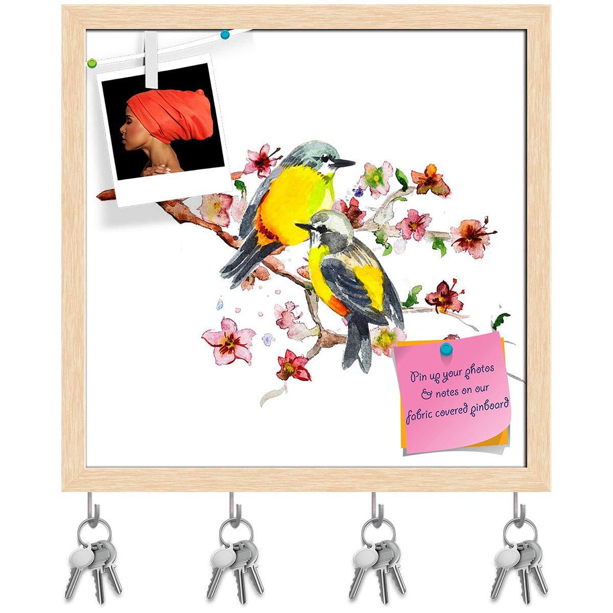 Natural Brown Frame 6inch x 6inch (15.2cms x 15.2cms) Artzfolio Cute Bird D3 Key Holder Hooks   Notice Pin Board   White Frame 16.1 X 16Inch