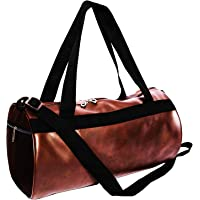 Priish Leather Fitness Gym Bag Shoulder Duffel Backpack for Travel with Side Compartments for Men and Women Gym Basketball Football Cricket Kit Multipurpose - Large (Brown and Black) (Brown)