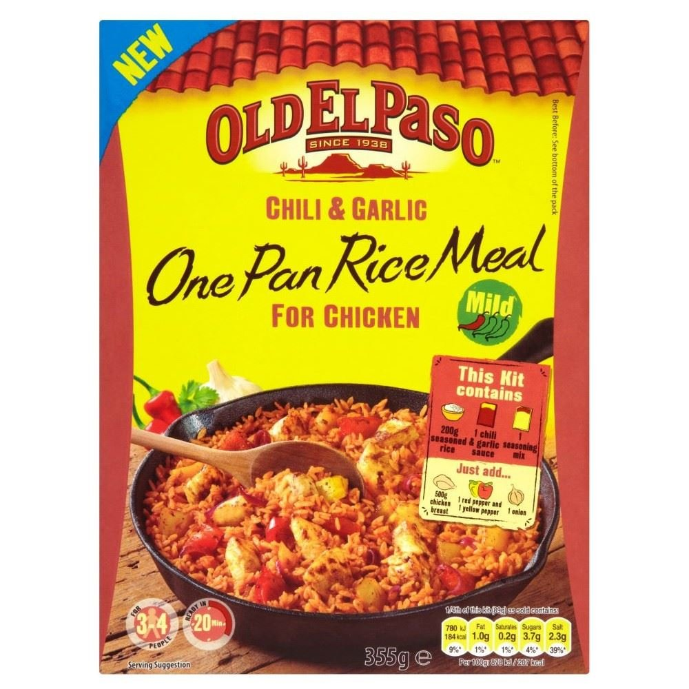 Old El Paso Chilli & Garlic Rice Kit (355g) - Pack of 2 by Old El Paso