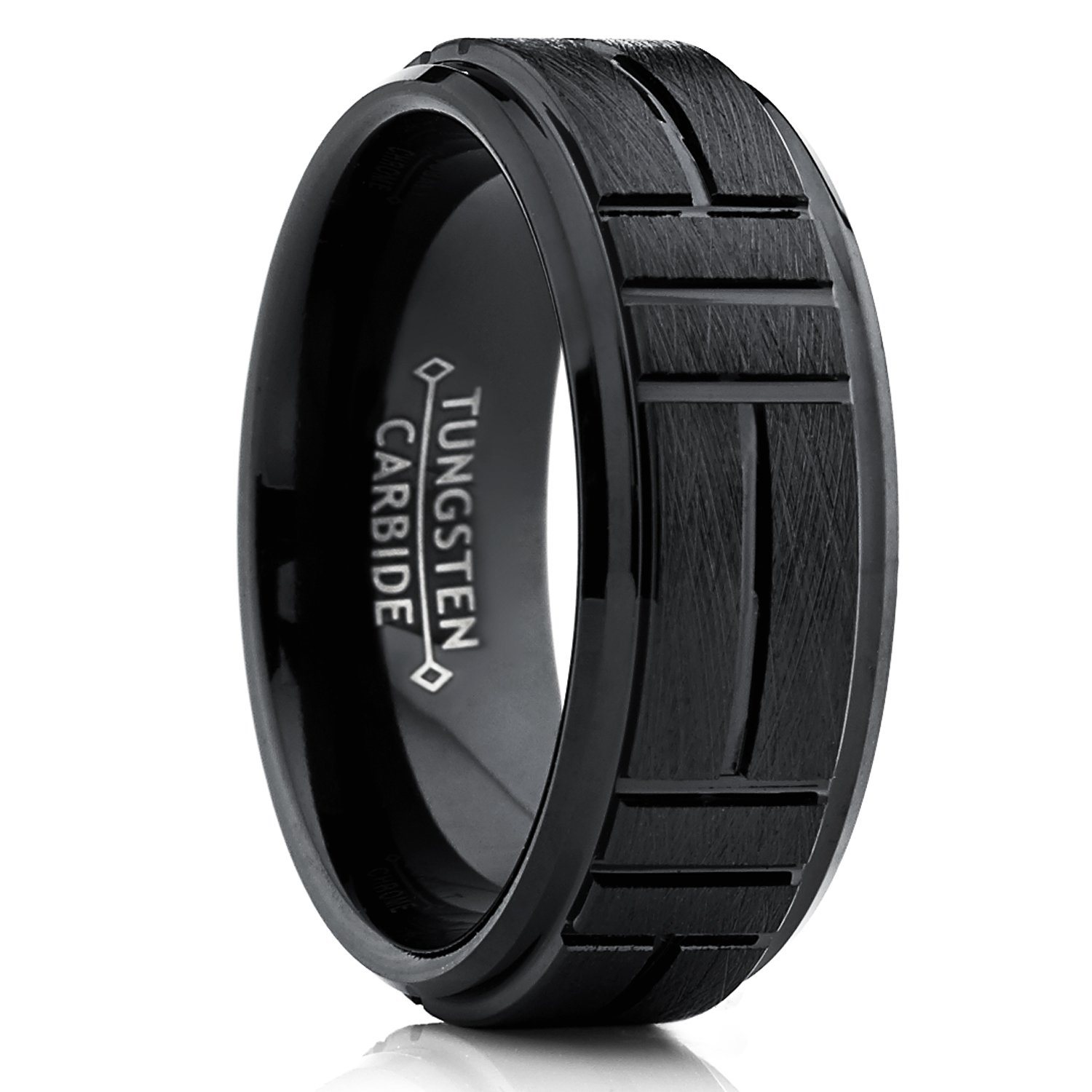 Tungsten Carbide Men's Black Textured Brushed Grooved Wedding Band Ring, Comfort Fit 8mm WCRX-1299
