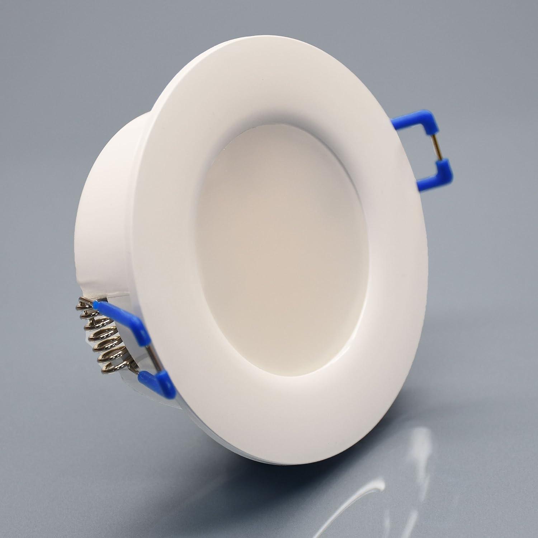 6x IP44 LED Bad Einbaustrahler 230V sehr flach 5,5W RUND Eisen-gebürstet Edelstahl-OptikEinbauspot Einbauleuchte Einbaulampe Deckenlampe Deckenstrahler Dusche 12er Set