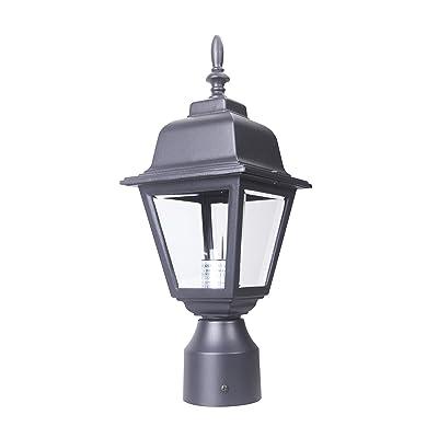LIT-PaTH Outdoor Post Light Pole Lantern Lighting Fixture with One E26 Base Max 60W, Aluminum Housing Plus Clear Glass, Matte Black Finish (Black)