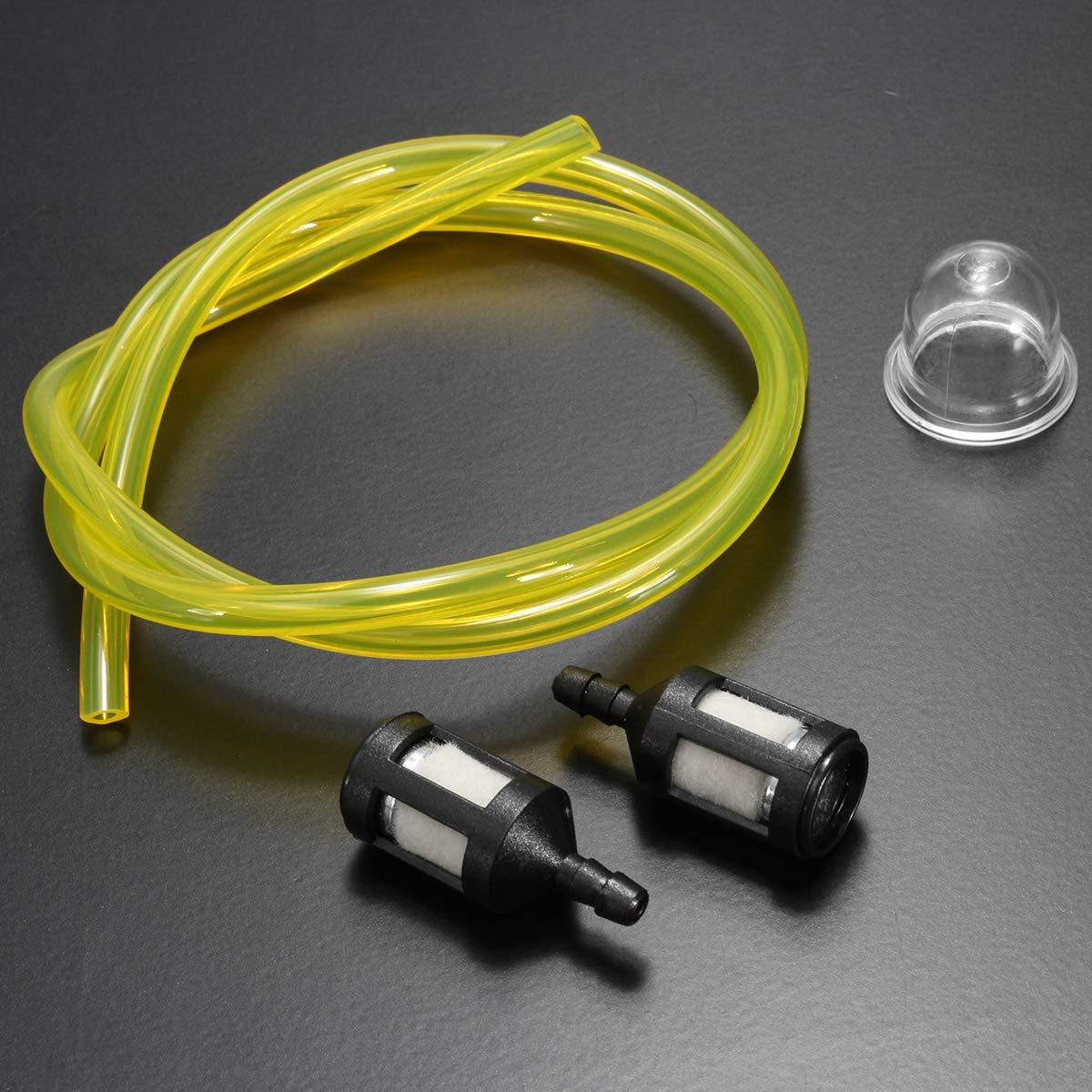 Tubo de Combustible Transparente de 2,5//3 mm 2 minibombillas de Filtro y cebado para filtros de Gasolina Ryobi Kungfu Mall